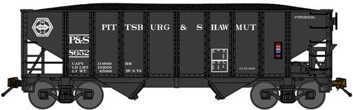 N Scale - Bluford Shops - 65061 - Open Hopper, 2-Bay, Rib Side, 8-Panel - Pittsburg & Shawmut - 8652