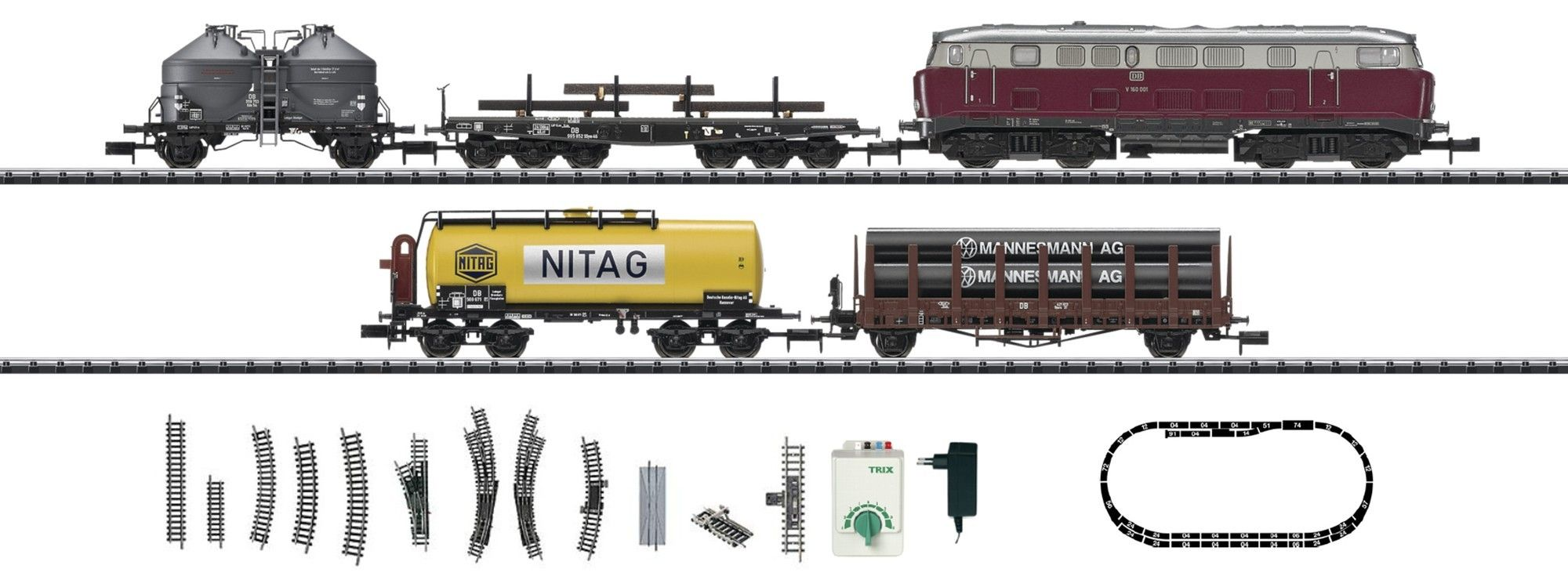 N Scale - Minitrix - 11130 - Freight Train, Diesel, Europe, Epoch III - Deutsche Bahn