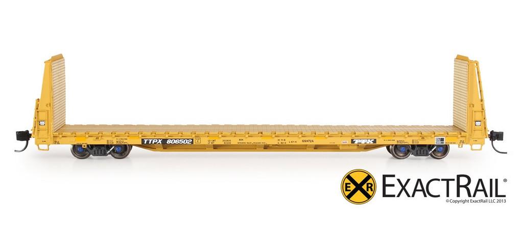 N Scale - ExactRail - EN-51602-12 - Flatcar, 67 Foot 11 Inch, Bulkhead, Trenton Works - Trailer Train - 806598
