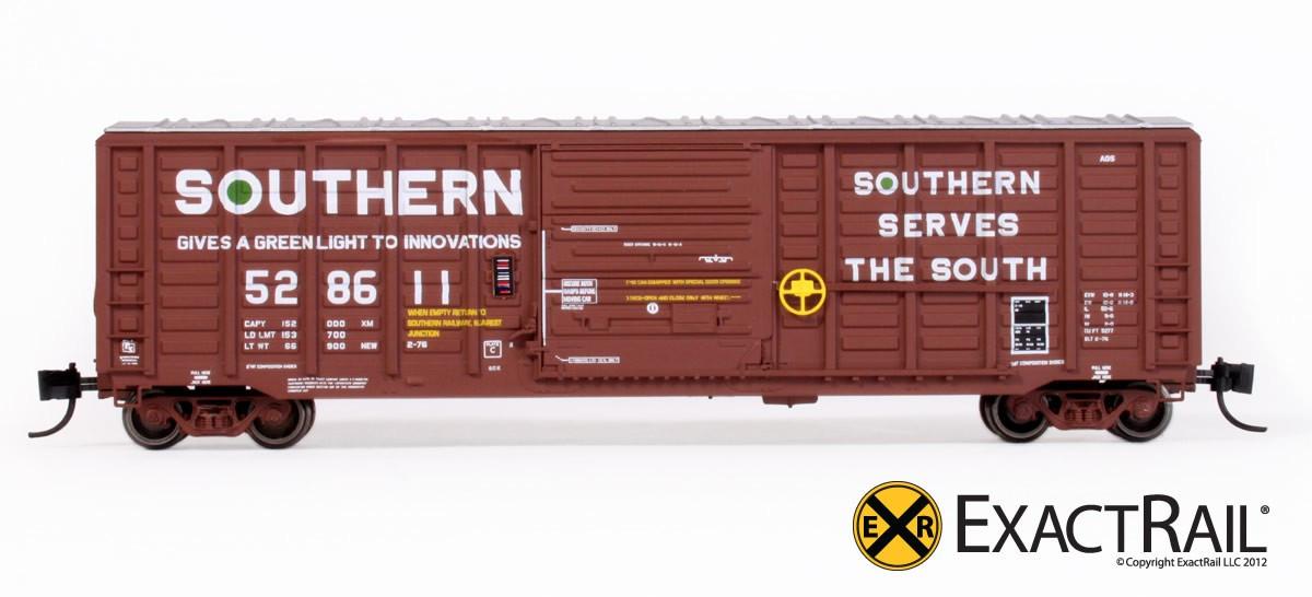 N Scale - ExactRail - EN-50403-5 - Boxcar, 50 Foot, Single Sliding Door, Waffle Side, Pullman Standard - Southern - 528638