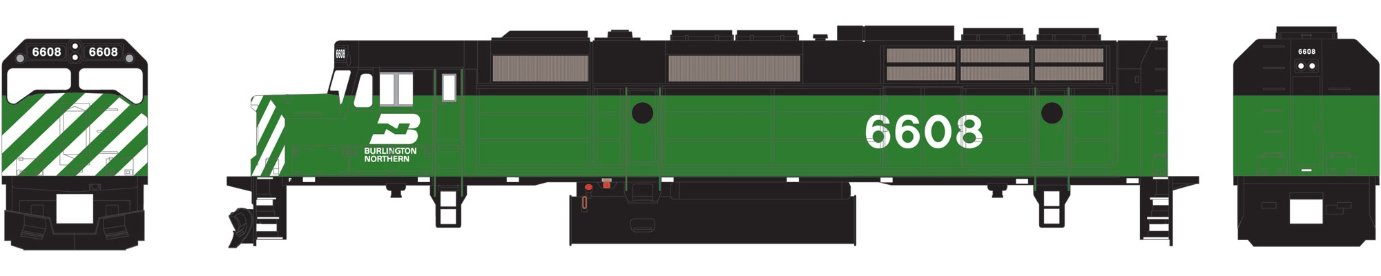 N Scale - Athearn - 22430 - Locomotive, Diesel, EMD F45 - Burlington Northern - 6608