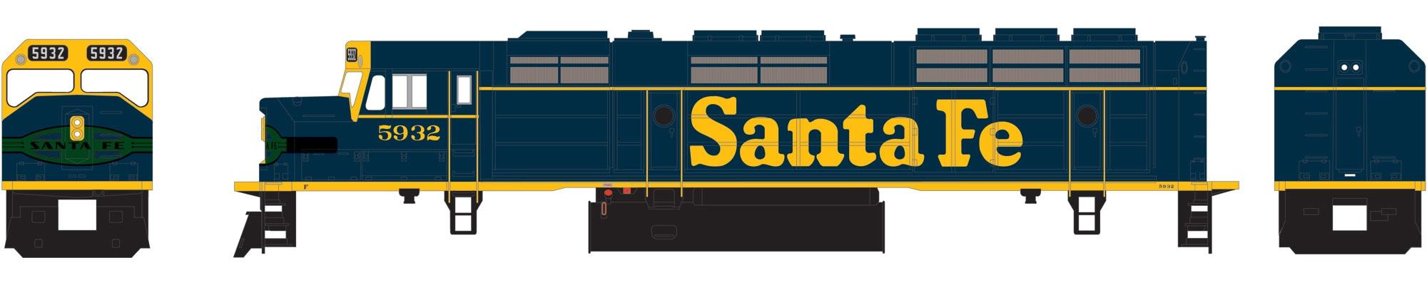 N Scale - Athearn - 22427 - Locomotive, Diesel, EMD F45 - Santa Fe - 5932