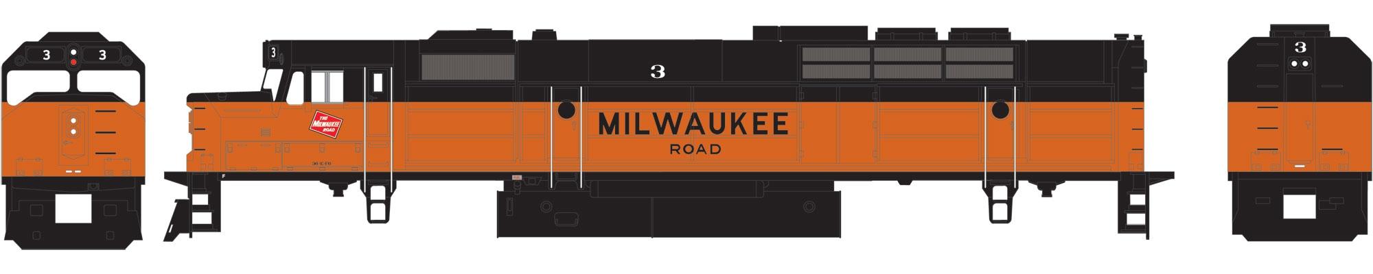 N Scale - Athearn - 22484 - Locomotive, Diesel, EMD FP45 - Milwaukee Road - 3
