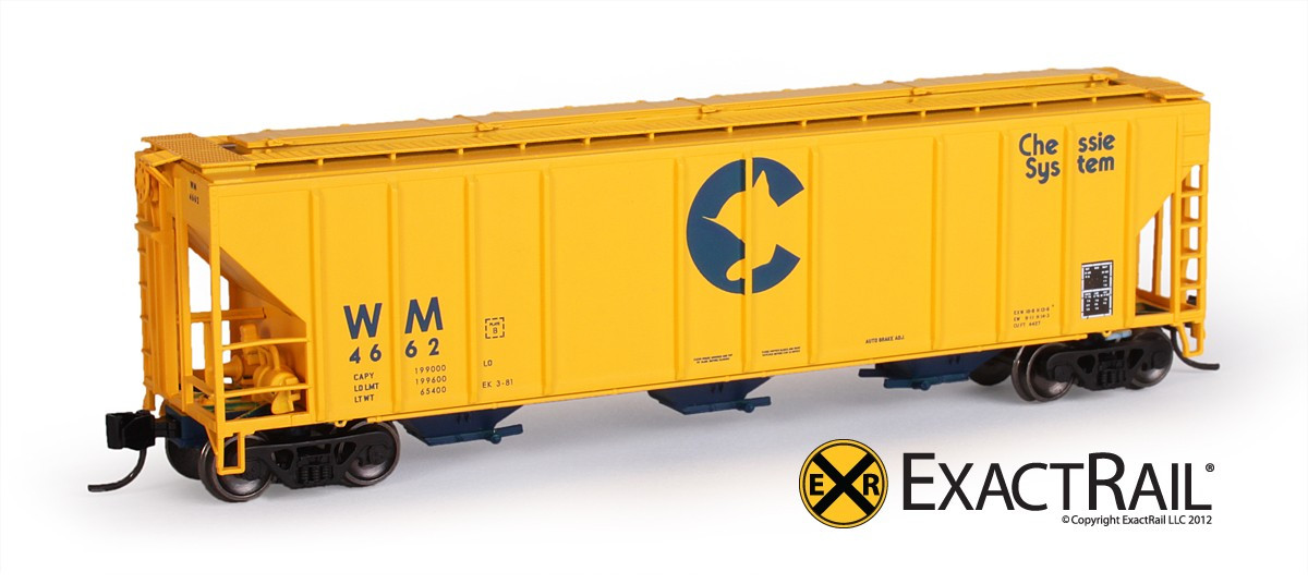 N Scale - ExactRail - EN-53016-2 - Covered Hopper, 3-Bay, PS2-CD 4427 - Chessie System - 4666