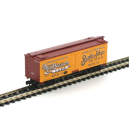 N Scale - Athearn - 10491 - Reefer, Ice, Wood - Evansville Packing - 54