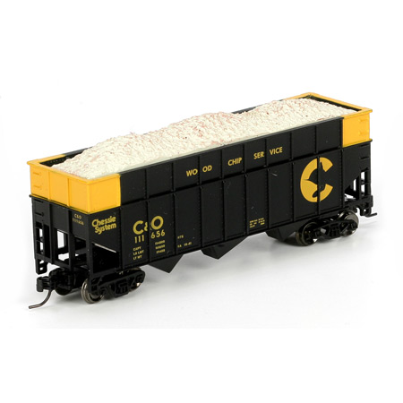 N Scale - Athearn - 24464 - Open Hopper, 3-Bay, Wood Chip - Chessie System - 111656