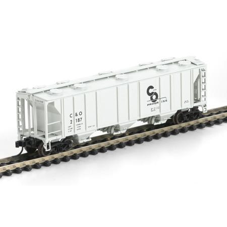 N Scale - Athearn - 11359 - Covered Hopper, 3-Bay, PS2 2893 - Chesapeake & Ohio - 2187