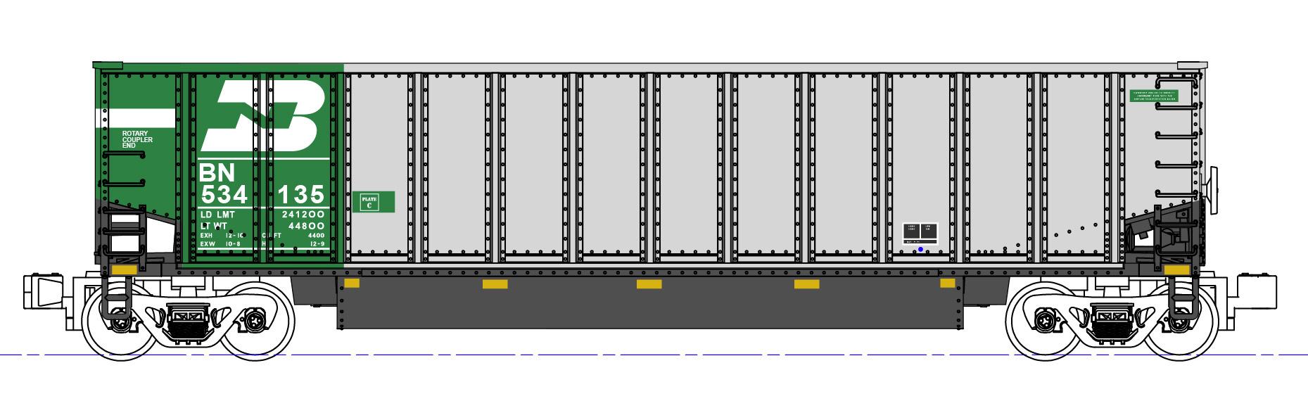 N Scale - Kato USA - 106-4651 - Gondola, Bathtub, Bethgon Coalporter - Burlington Northern -  533999, 534017, 534123, 534329, 534565, 534568, 534596, 534700