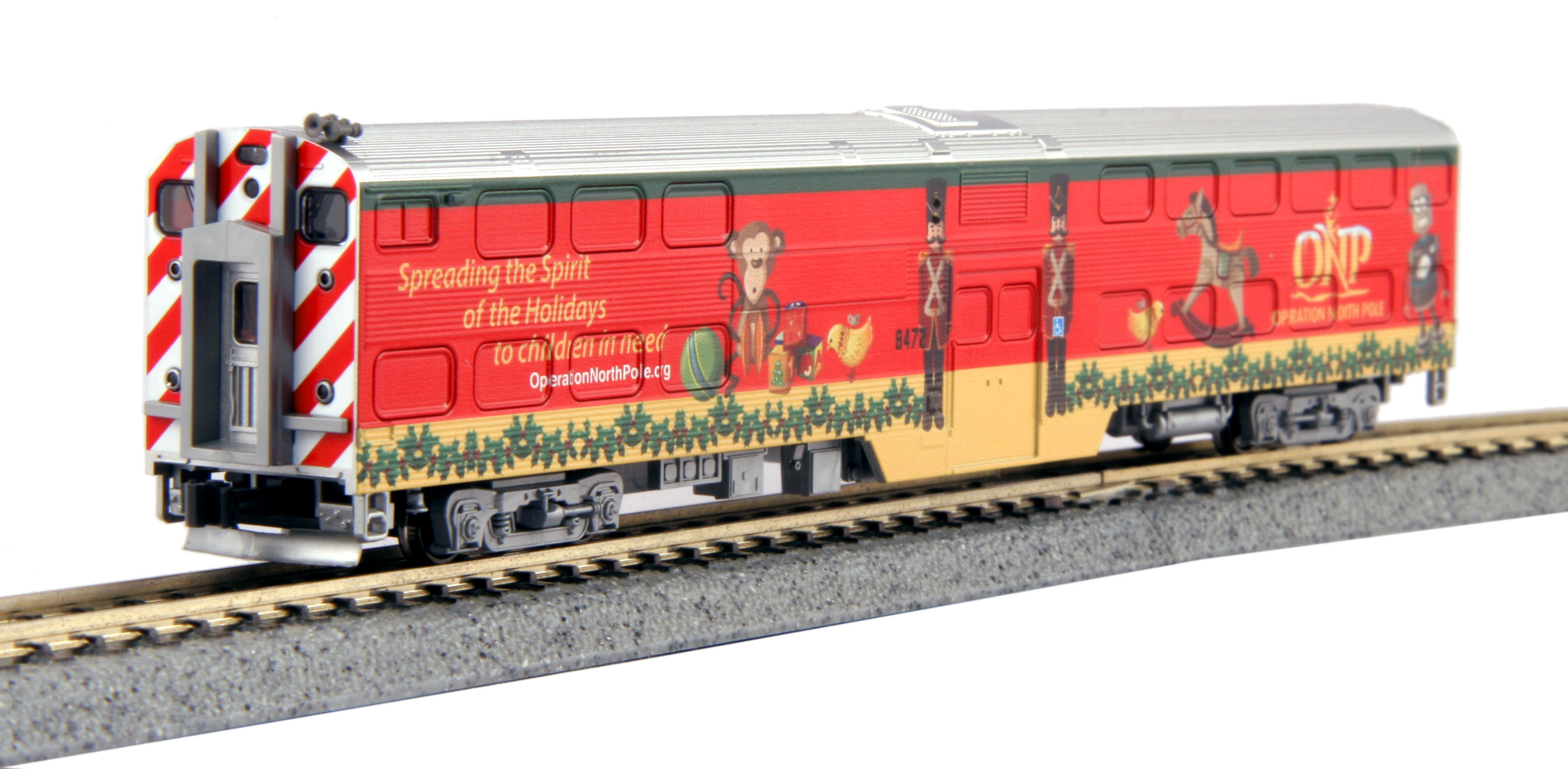 N Scale - Kato USA - 106-2015-D - Passenger Car, Commuter, Nippon Sharyo Gallery - Operation North Pole - Spreading the Spirit