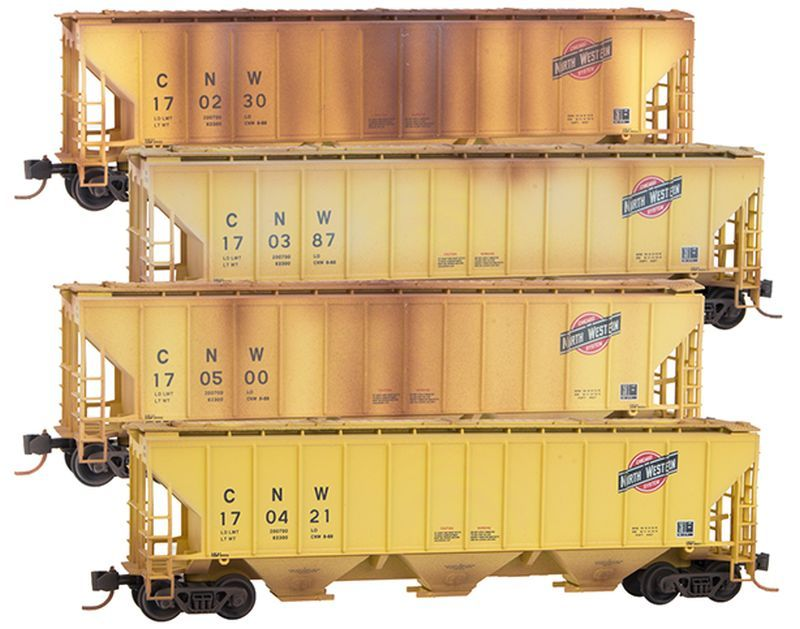 N Scale - Micro-Trains - NSC MTL 16-69A - Covered Hopper, 3-Bay, PS-2 - Chicago & North Western - 170421, 170500, 170387, 170230
