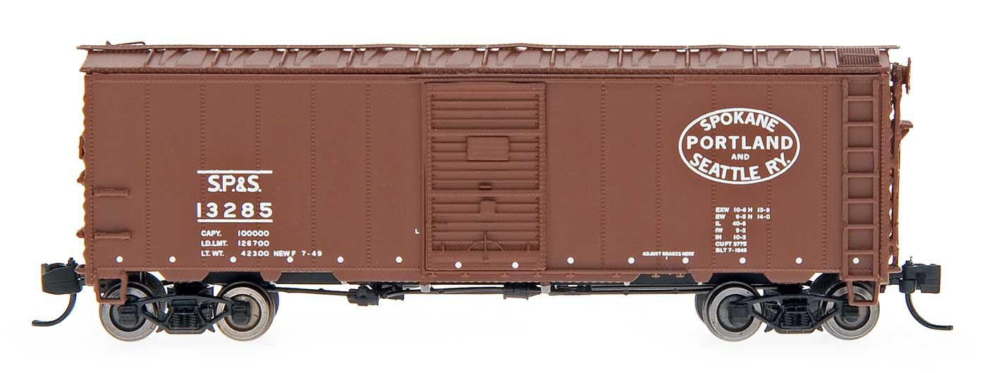 N Scale - InterMountain - 66020-07 - Boxcar, 40 Foot, Steel 12 Panel - Spokane Portland & Seattle - 13043