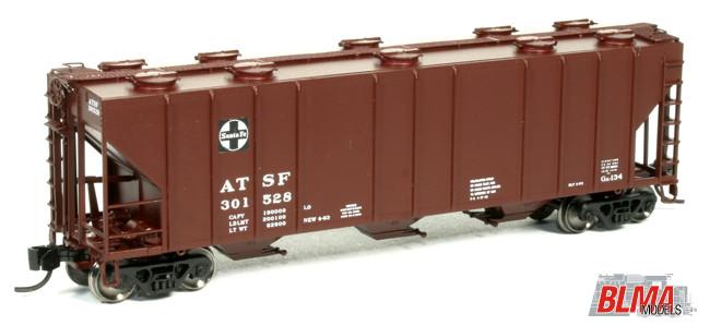 N Scale - BLMA - 11006 - Covered Hopper, 3-Bay, PS-2CD 4000 - Santa Fe - 301705