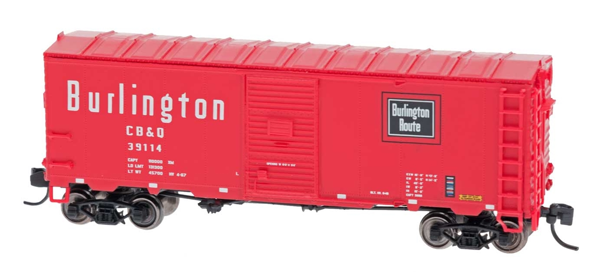 N Scale - InterMountain - 66821-05 - Boxcar, 40 Foot, AAR 1944 - Burlington Route - 39086