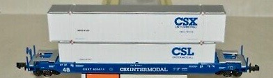 N Scale - Con-Cor - 0001-14723 - Container Car, Single Well, Gunderson Husky Stack 48 - CSX Transportation - 620509