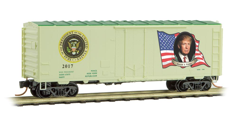 N Scale - Micro-Trains - 074 00 145 - Boxcar, 50 Foot, PS-1 - Presidential Cars - Donald Trump: 2017