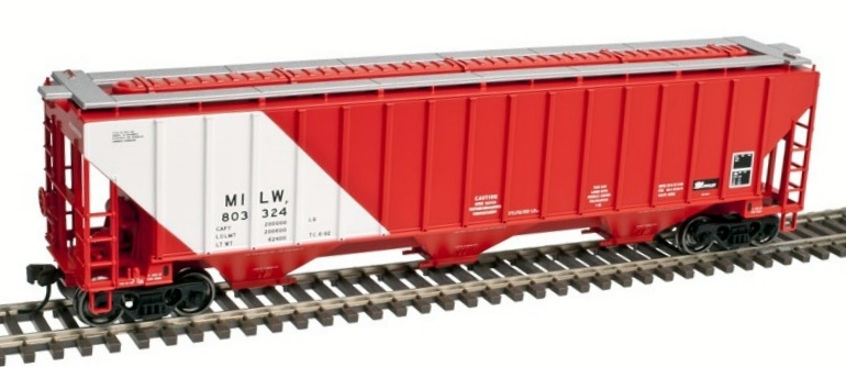 N Scale - Atlas - 50 002 816 - Covered Hopper, 3-Bay, Thrall 4750 - Milwaukee Road - 803330