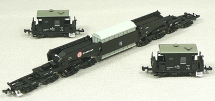 N Scale - Micro Ace - A8574 - Schnabel Car, Shiki, With Two Crew Cars - Japan Railways Freight - 800, 8200, and 8351
