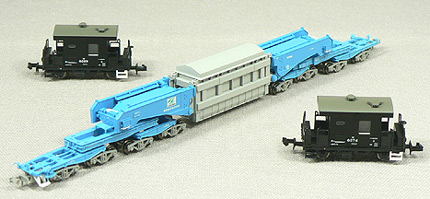 N Scale - Micro Ace - A8575 - Schnabel Car, Shiki, With Two Crew Cars - Japan Railways Freight - 810, 8299, and 8374