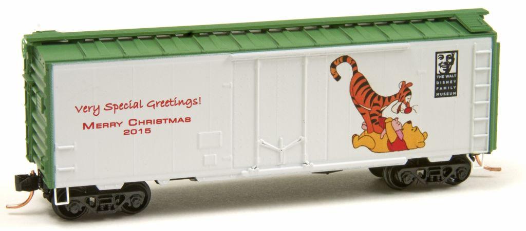 N Scale - Micro-Trains - NSE MTL 15-166 - Boxcar, 40 Foot, Steel Plug Door - Merry Christmas - 2015