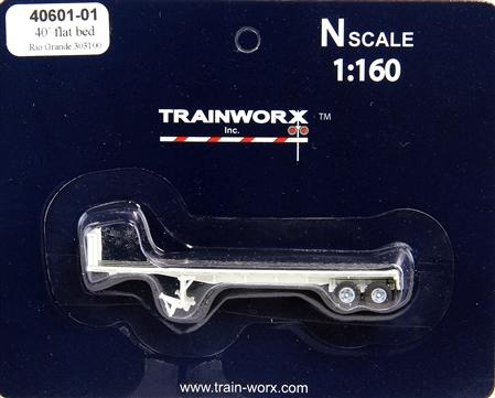 N Scale - Trainworx - 40601-03 - Trailer, Flat Bed, 40 Foot - Rio Grande - 303123