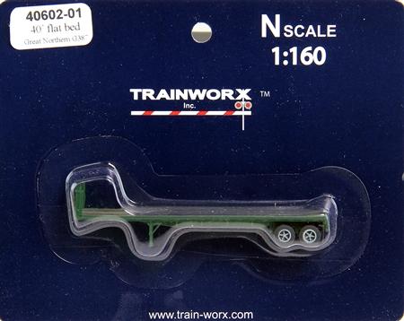 N Scale - Trainworx - 40602-02 - Trailer, Flat Bed, 40 Foot - Great Northern - G392