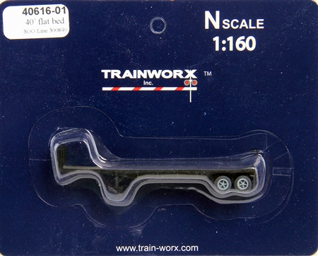 N Scale - Trainworx - 40616-01 - Trailer, Flat Bed, 40 Foot - SOO Line - 300840