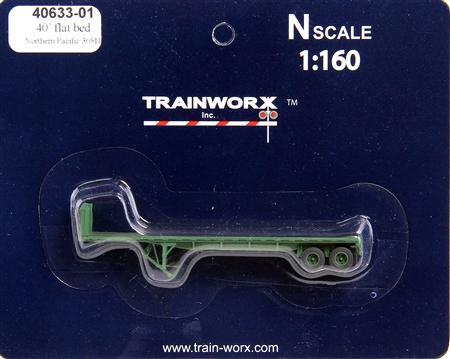 N Scale - Trainworx - 40633-03 - Trailer, Flat Bed, 40 Foot - Northern Pacific - 30516