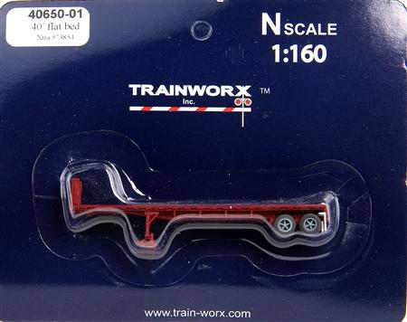 N Scale - Trainworx - 40650-02 - Trailer, Flat Bed, 40 Foot - XTRA Lease - 573937