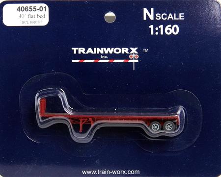 N Scale - Trainworx - 40655-01 - Trailer, Flat Bed, 40 Foot - Seaboard Coast Line - 808197