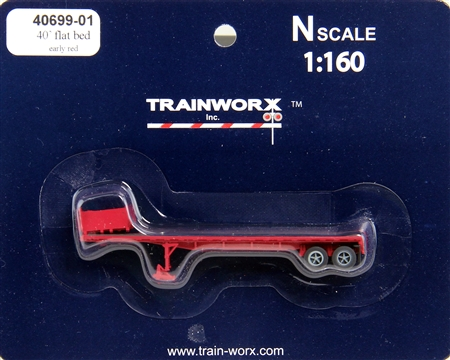 N Scale - Trainworx - 40699-01 - Trailer, Flat Bed, 40 Foot - Painted/Unlettered