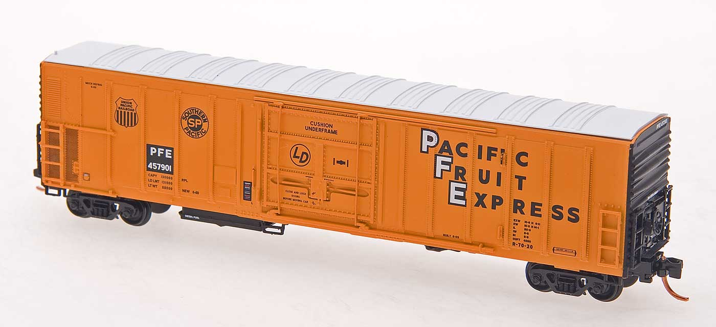 N Scale - InterMountain - 68801-05 - Reefer, 57 Foot, Mechanical, PC&F R-70-20 - Pacific Fruit Express - 457901