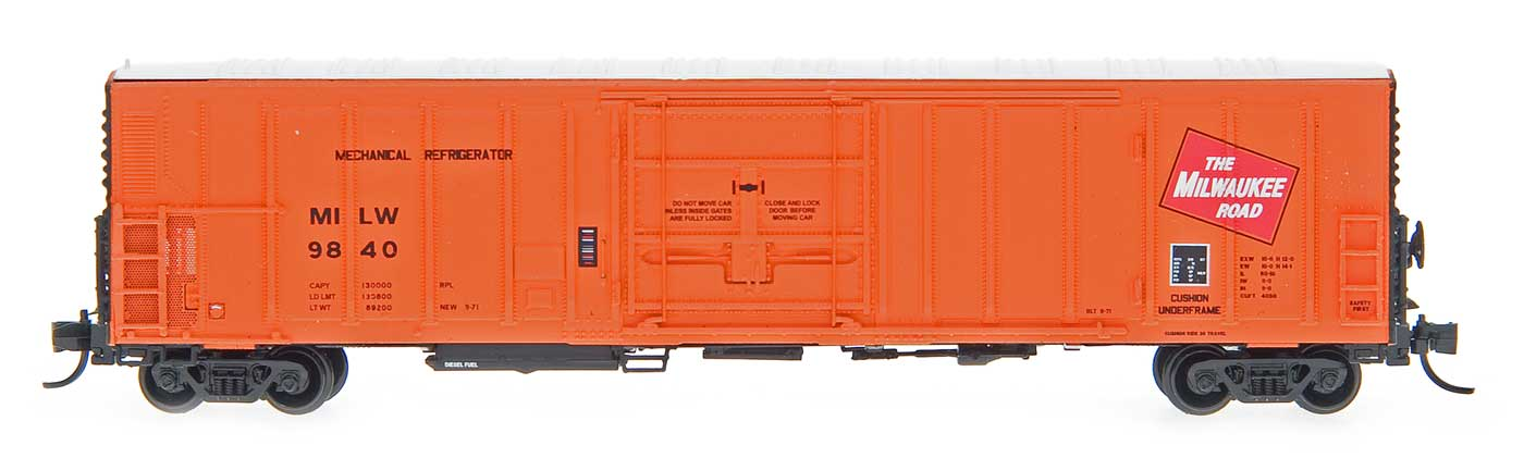 N Scale - InterMountain - 68815-04 - Reefer, 57 Foot, Mechanical, PC&F R-70-20 - Milwaukee Road - 9858