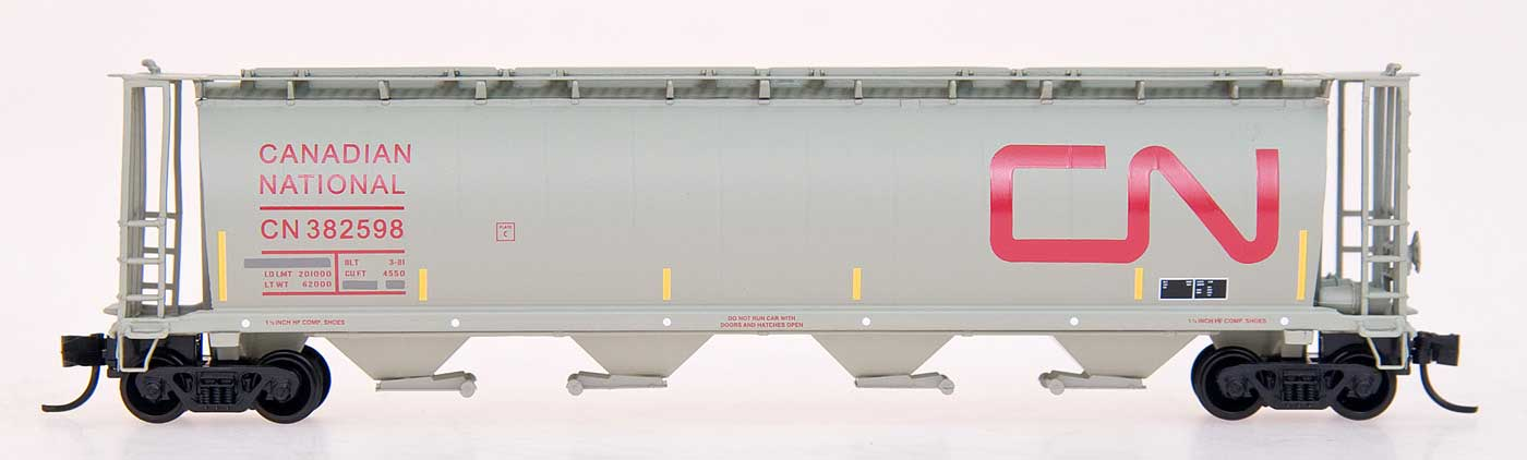 N Scale - InterMountain - 65107-14 - Covered Hopper, 4-Bay, Cylindrical - Canadian National - 382370