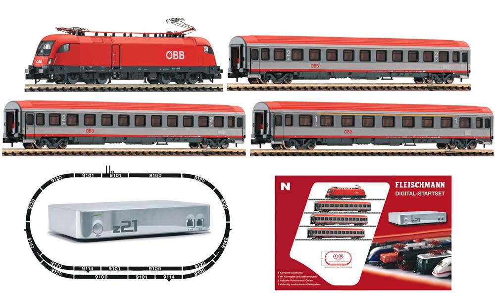 N Scale - Fleischmann - 931383 - Passenger Train, Electric, Europe, Epoch VI - ÖBB (Austrian Federal Railways)