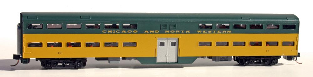 N Scale - Wheels of Time - 114-20 - Passenger Car,  1957 ACF Bi Level Design - Chicago & North Western - 20
