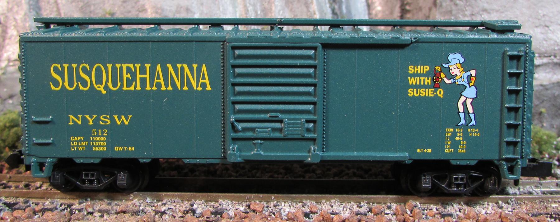 N Scale - Aztec - NYSW2036-4 - Boxcar, 40 Foot, PS-1 - Susquehanna - 512