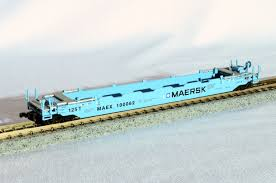 N Scale - Roundhouse - 8477 - Container Car, Single Well, Gunderson Husky Stack 48 - Maersk - 100060