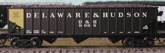 N Scale - Bluford Shops - 14421 - Open Hopper, 3-Bay, 70 Ton Ribside - Delaware & Hudson - 9068