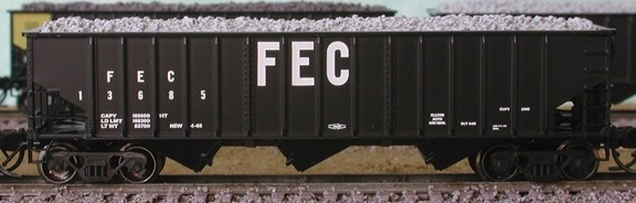 N Scale - Bluford Shops - 14432 - Open Hopper, 3-Bay, 70 Ton Ribside - Florida East Coast - 13602, 13679