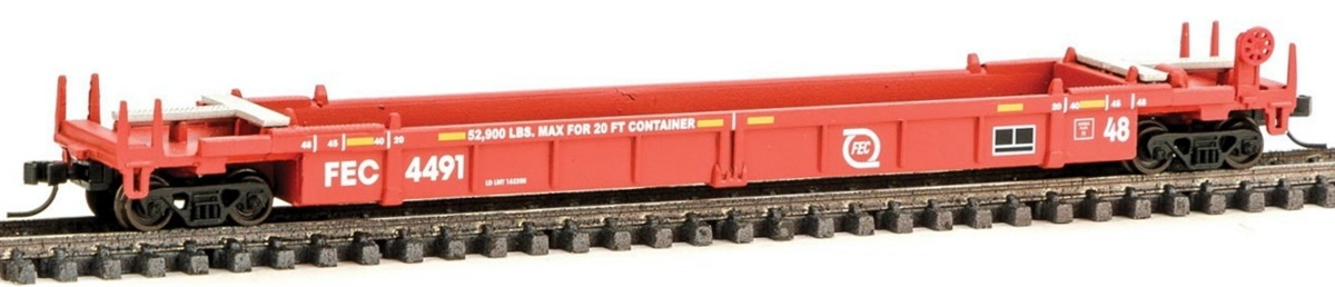 N Scale - Walthers - 929-8004 - Container Car, Single Well, Thrall Lo-Pac 48 - Florida East Coast - 4491