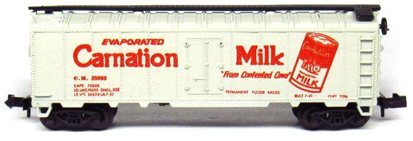 N Scale - Aurora Postage Stamp - 4885-430 - Reefer, Ice, Steel - Carnation Milk - 25063