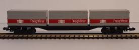 N Scale - Lima - 484 - Flatcar, 20M, Container Sgns - Freightliner - None