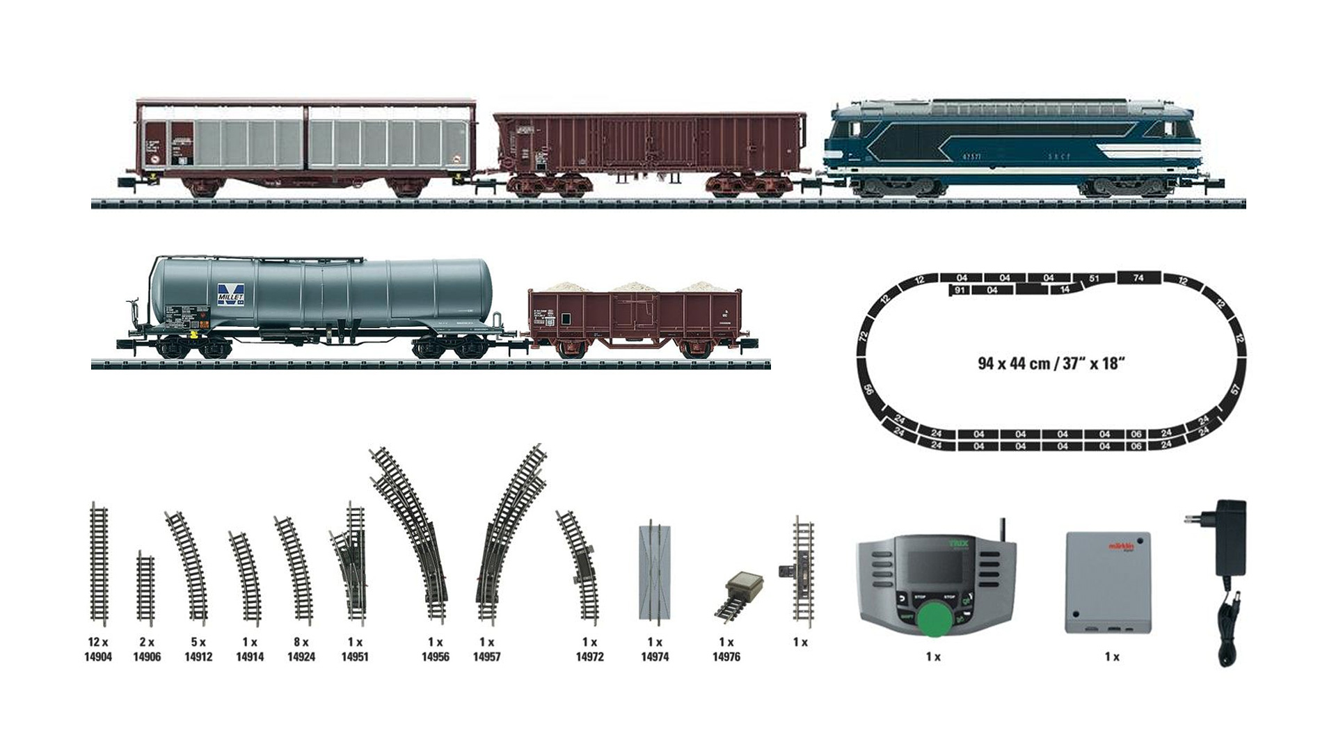 N Scale - Minitrix - 11488 - 5-Unit Freight Set with BB67300 - SNCF