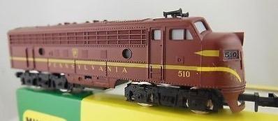 N Scale - Minitrix - 2971 - Locomotive, Diesel, EMD F9 - Pennsylvania - 510