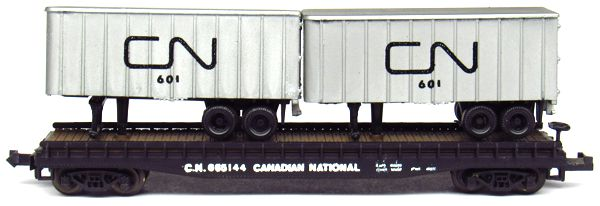 N Scale - Aurora Postage Stamp - 4844-211 - Flatcar, 50 Foot - Canadian National - 665144