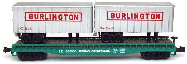 N Scale - Minitrix - 3148 - Flatcar, 50 Foot - Penn Central - 50500
