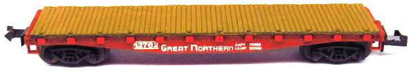 N Scale - Aurora Postage Stamp - 4881-300 - Flatcar, 40 Foot - Great Northern - 42762