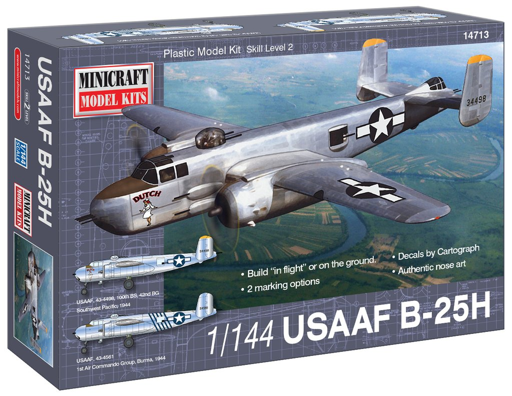 N Scale - Minicraft - 14713 - Vehicle, Aircraft - United States Army Air Corps - B-25H