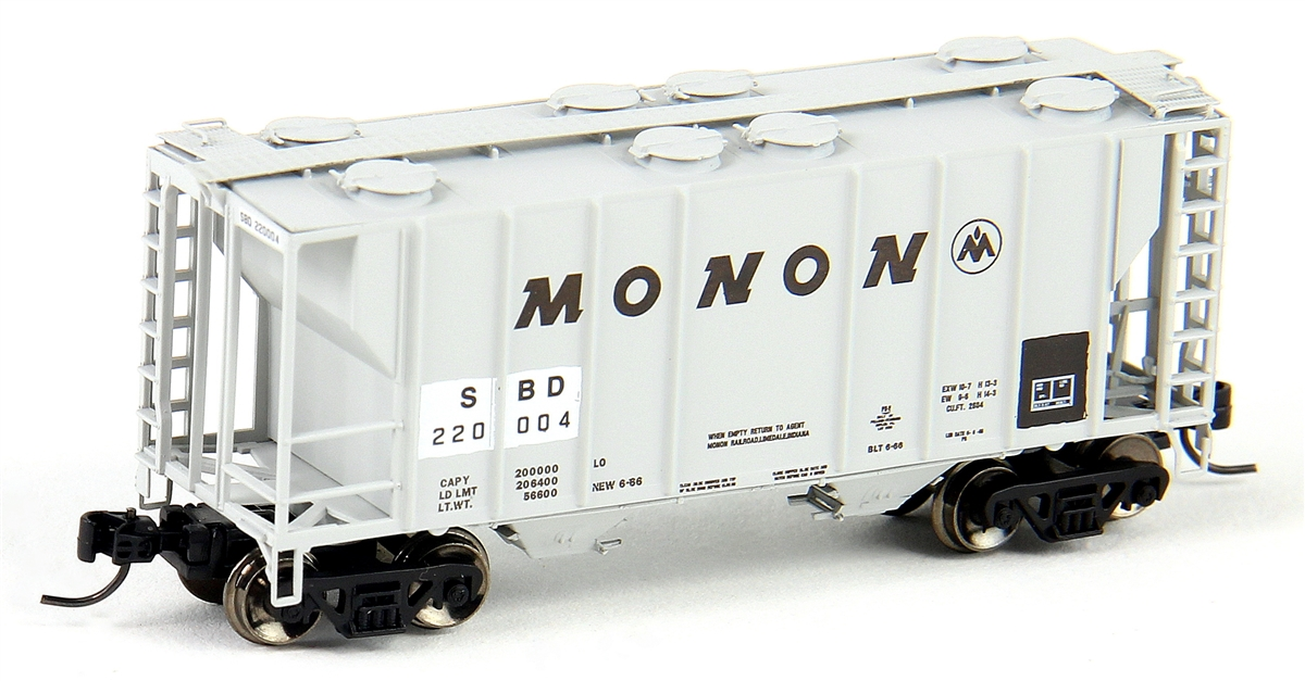 N Scale - Athearn - 12287 - Covered Hopper, 2-Bay, PS2 - Monon - 220004