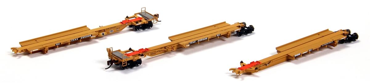 N Scale - BLMA - 12257 - Spine Car, 53 Foot, 3-Unit, Trinity, RAF53C - TTX Trailer Train - 355008